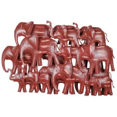 Upcycled Metal Wall Art of Red Elephant Herd, 20th Century