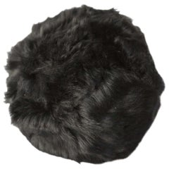 Upcycled Toscana Sheepskin, Fur Snowball Pillow Black, in Stock