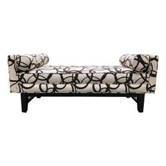 Updated Chic Mid-Century Modern Graphic Black and White Upholstered Bench