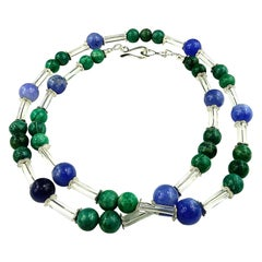 Updated Look Blue Agate and Green Amazonite Necklace