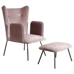Upholstered Armchair and Ottoman by Martin Eisler