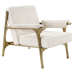 Upholstered Armchair with Bronze-Patina Brass Details by R&Y Augousti