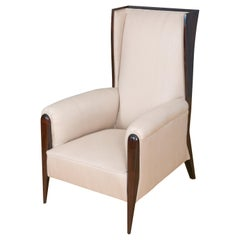 Upholstered Art Deco Inspired Wing Chair