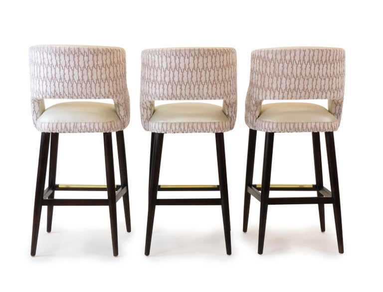 American Modern Armless Bar Stool with Relaxed Backrest  For Sale