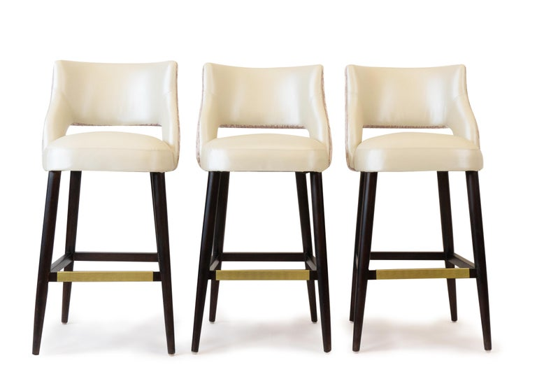 Stained Modern Armless Bar Stool with Relaxed Backrest  For Sale