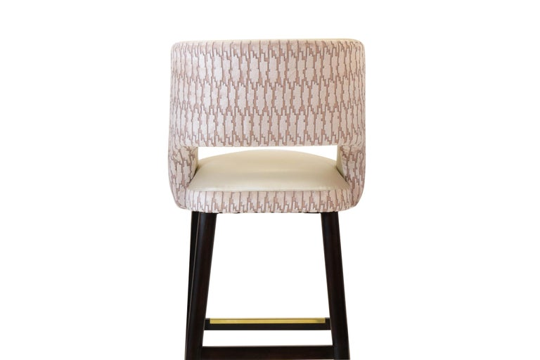 Contemporary Modern Armless Bar Stool with Relaxed Backrest  For Sale