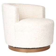 Upholstered Barrel-Back Swivel Chair by Wyeth