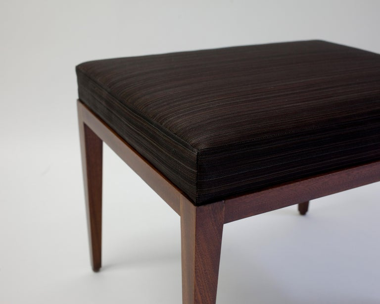 Hand-Carved Upholstered Bench with Brown Horsehair Seat with Mahogany Frame and Tapered Legs For Sale