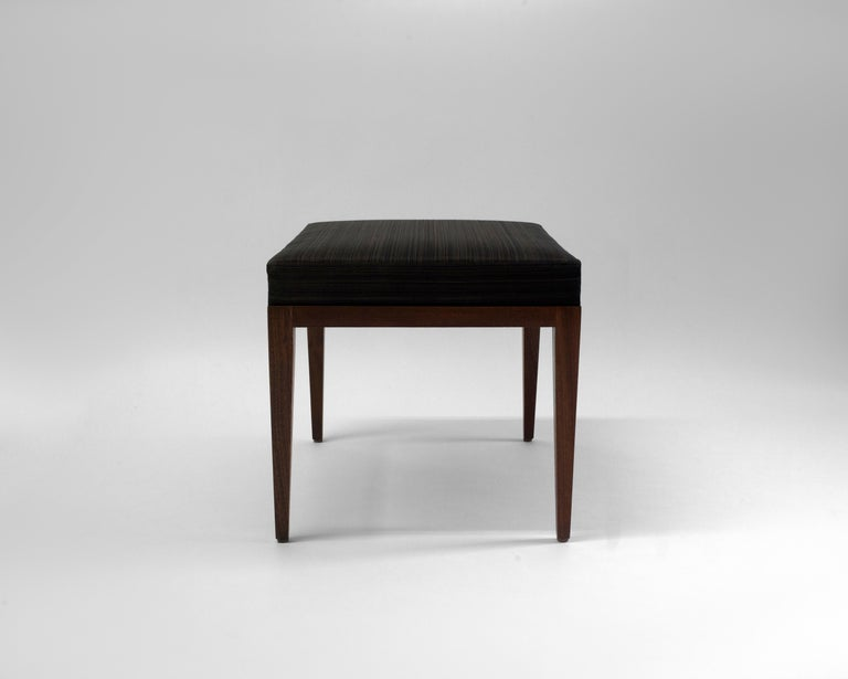 Contemporary Upholstered Bench with Brown Horsehair Seat with Mahogany Frame and Tapered Legs For Sale