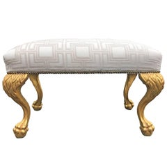 Upholstered Bench with Giltwood Lion Paws