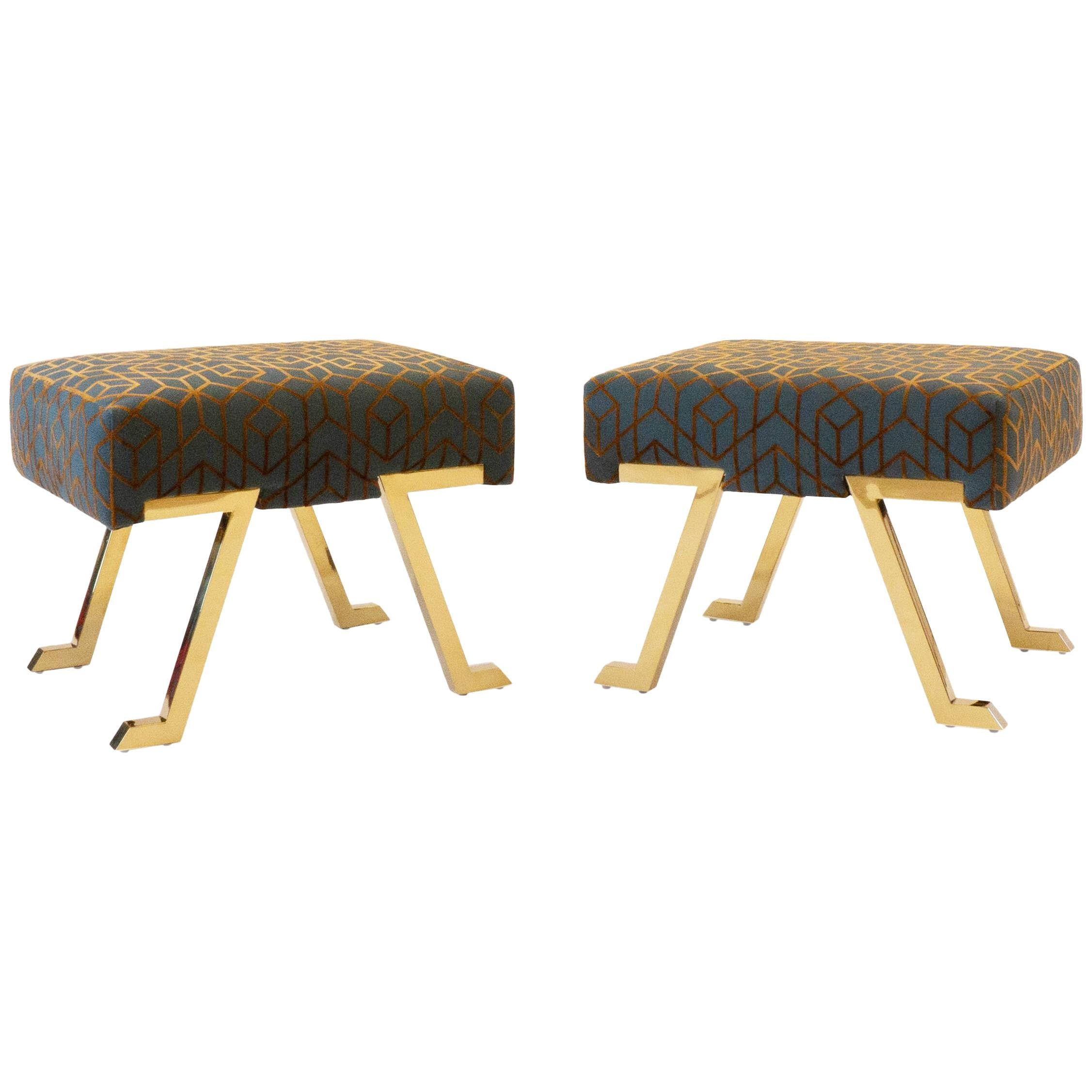 Upholstered Benches with Brass Legs