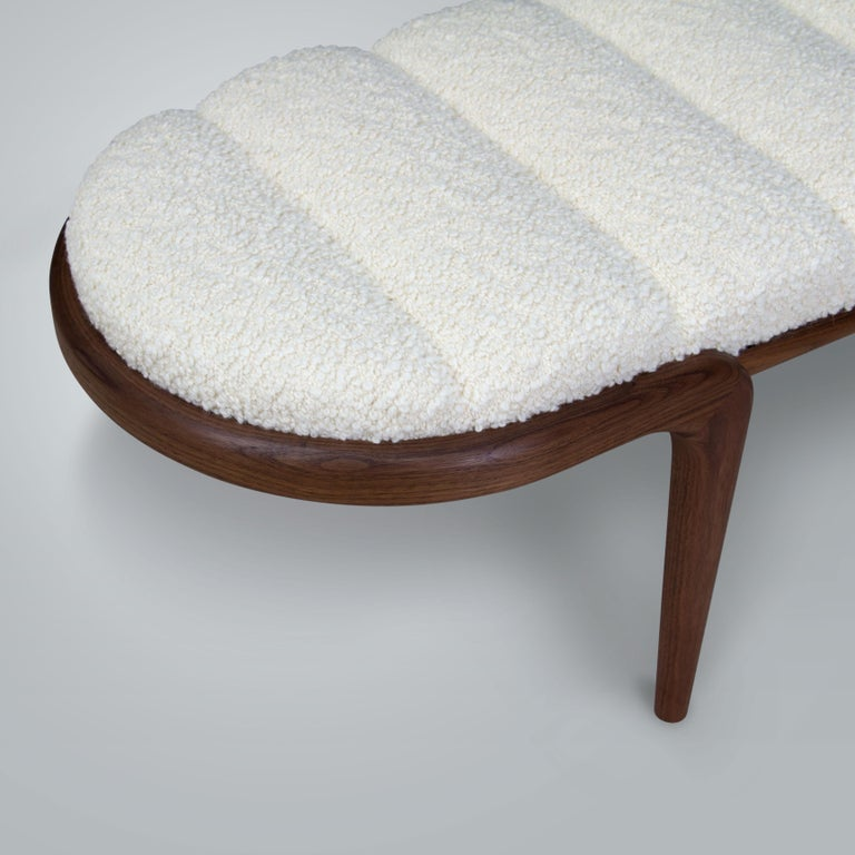 Oiled Upholstered Bent Walnut Bench by Chapter & Verse For Sale