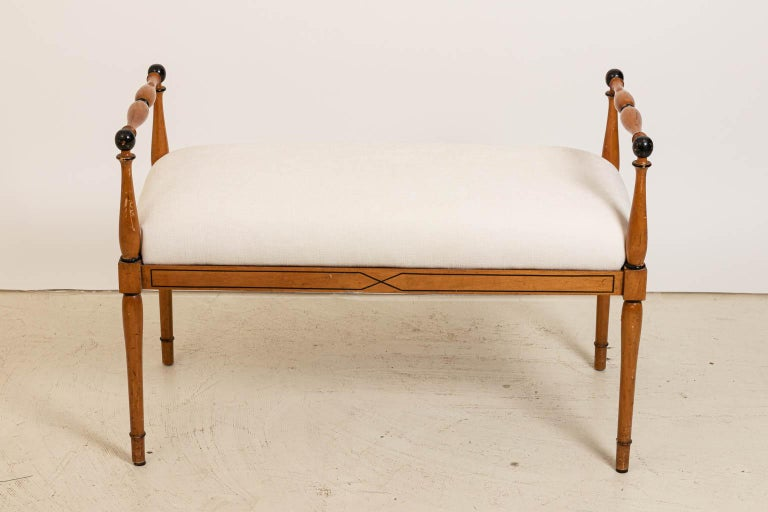 Upholstered Biedermeier Style Bench In Good Condition For Sale In Stamford, CT