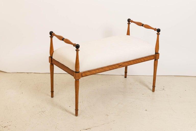 Upholstery Upholstered Biedermeier Style Bench For Sale