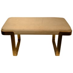 Upholstered Brass Bench Attributed to Karl Springer