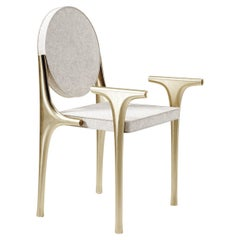 Upholstered Chair with Bronze-Patina Brass Details by R&Y Augousti