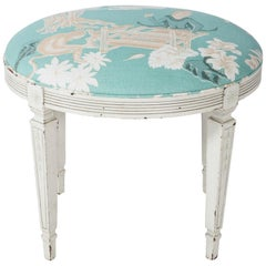 Upholstered Chinoiserie Stool