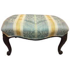 Upholstered Chippendale Style Walnut Stool, Early 20th Century