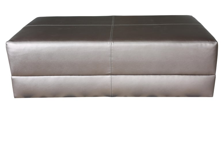 Upholstered Cocktail Coffee Table, Metallic Leatherette, Ottoman, Faux Leather In New Condition For Sale In Boston, MA