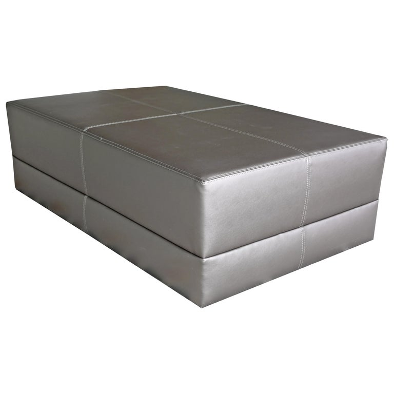 Upholstered Cocktail Coffee Table, Metallic Leatherette, Ottoman, Faux Leather For Sale