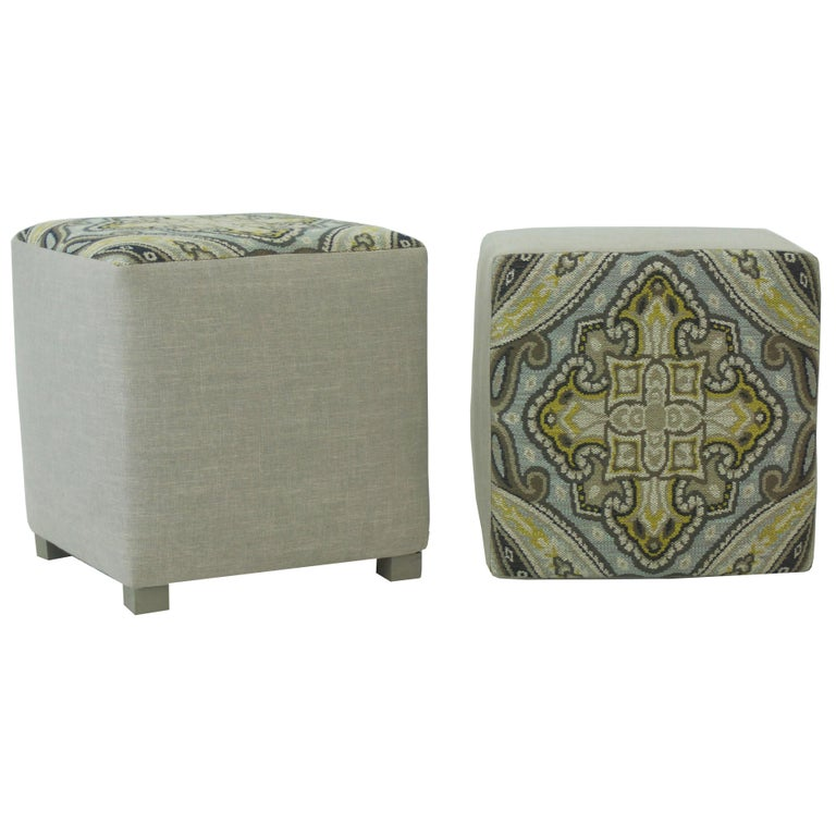 Contemporary Upholstered Cube Ottoman For Sale
