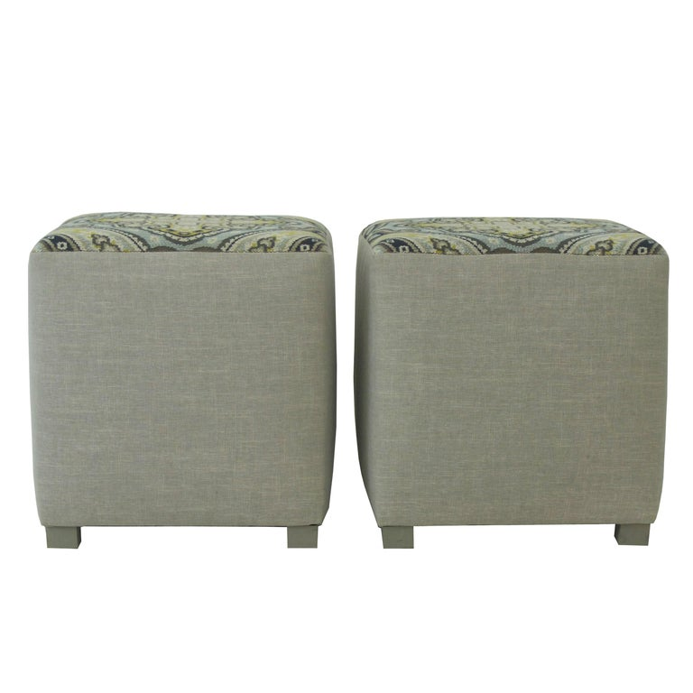Upholstered Cube Ottoman For Sale 1