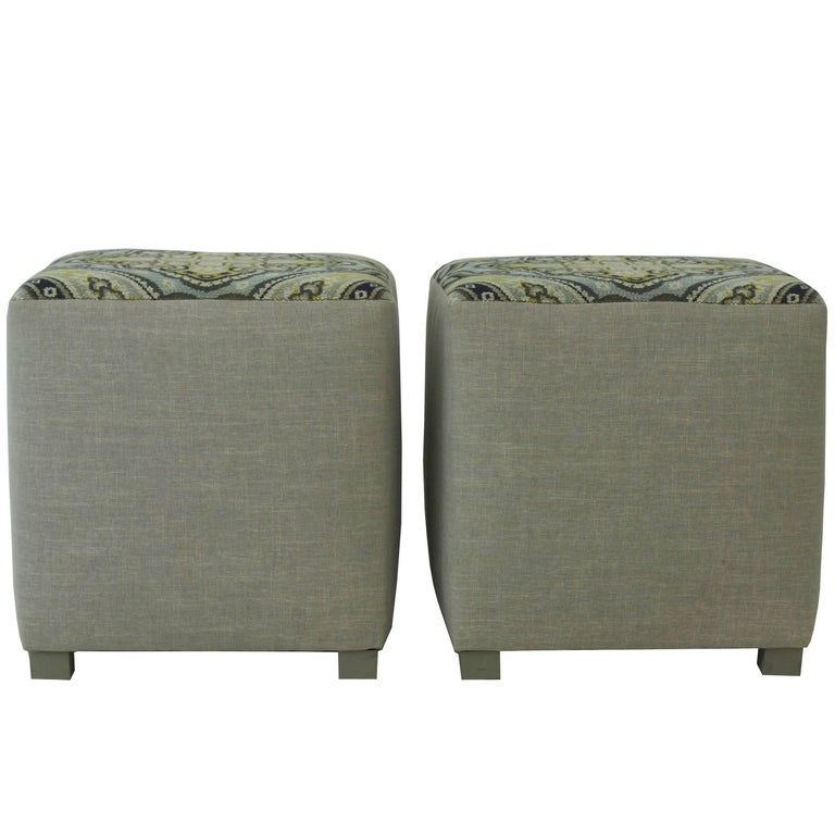 Upholstered Cube Ottoman For Sale