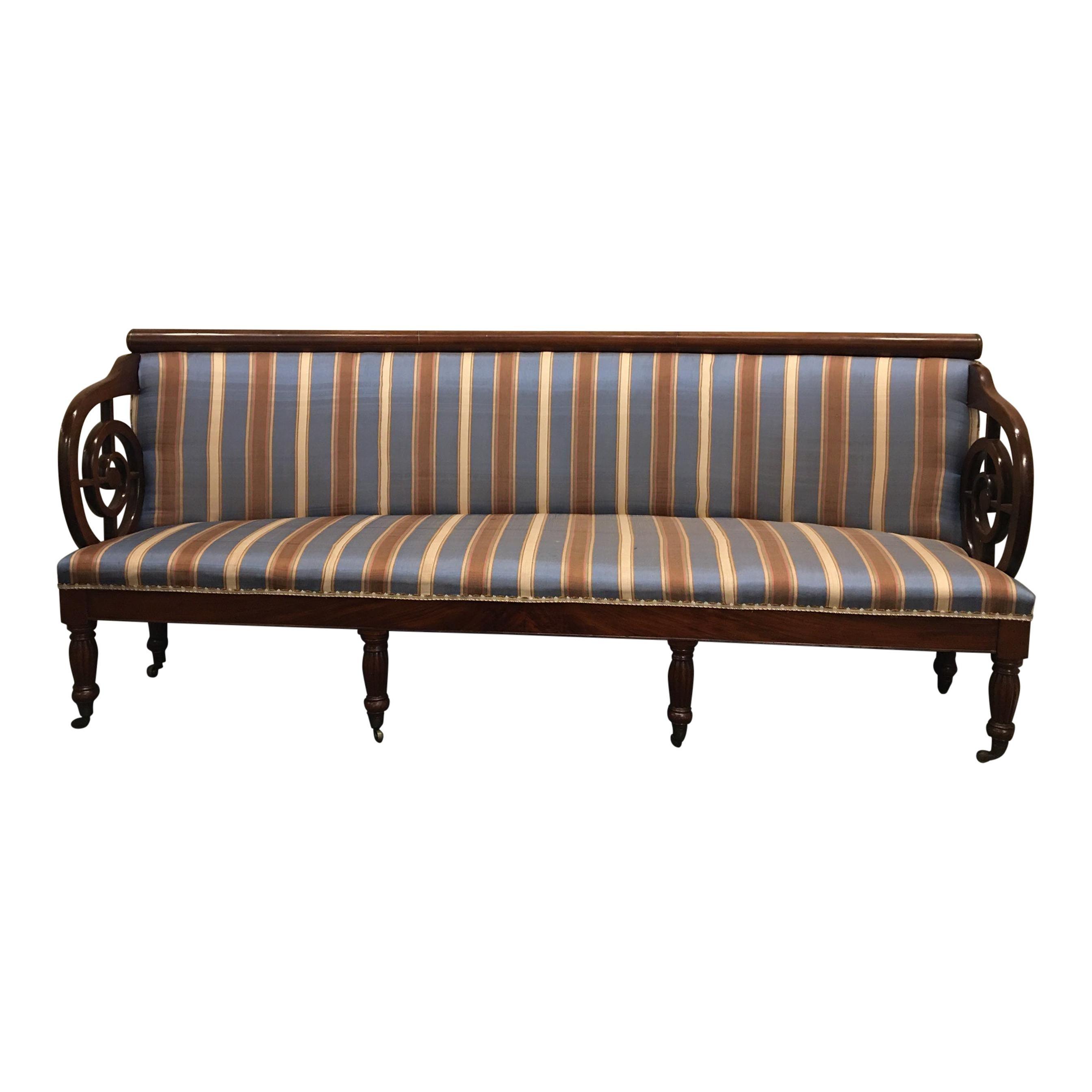 Upholstered Charles X Mahogany Sofa on Casters, 19th Century