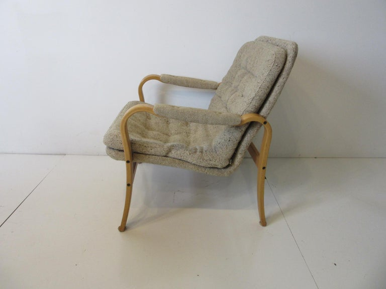 Mid-Century Modern Upholstered Danish Styled Birch Lounge Chair by DUX of Sweden For Sale