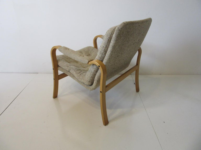 Swedish Upholstered Danish Styled Birch Lounge Chair by DUX of Sweden For Sale