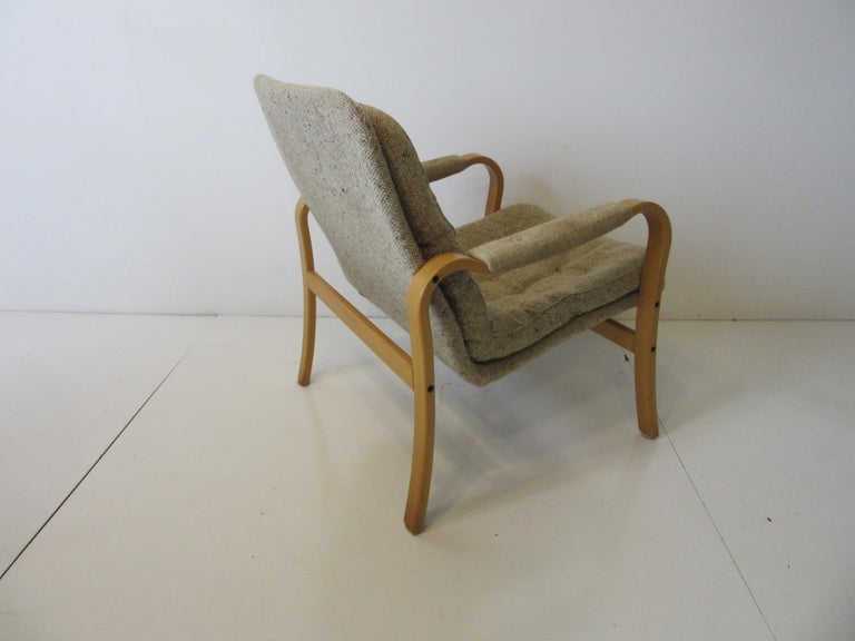 20th Century Upholstered Danish Styled Birch Lounge Chair by DUX of Sweden For Sale