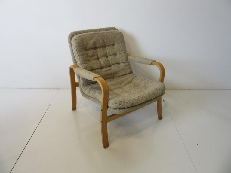 Upholstery Upholstered Danish Styled Birch Lounge Chair by DUX of Sweden For Sale