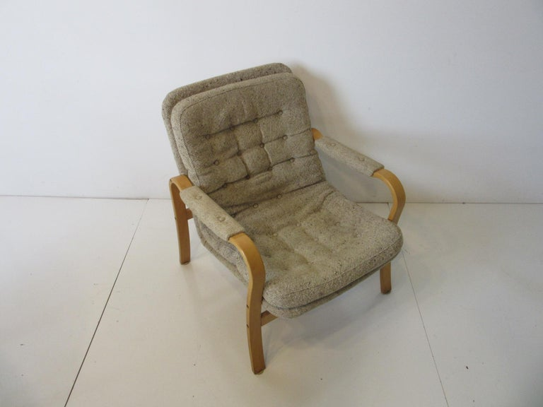 Upholstered Danish Styled Birch Lounge Chair by DUX of Sweden For Sale 1