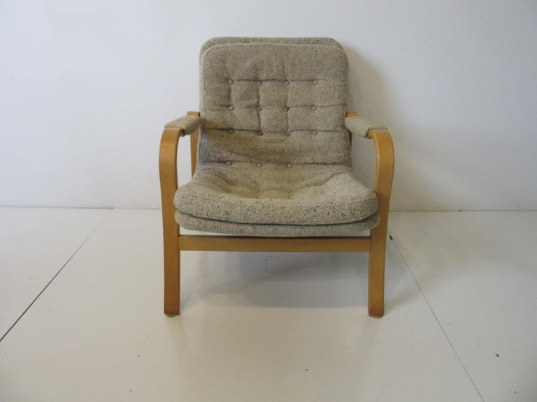 Upholstered Danish Styled Birch Lounge Chair by DUX of Sweden For Sale 2