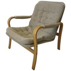 Upholstered Danish Styled Birch Lounge Chair by DUX of Sweden