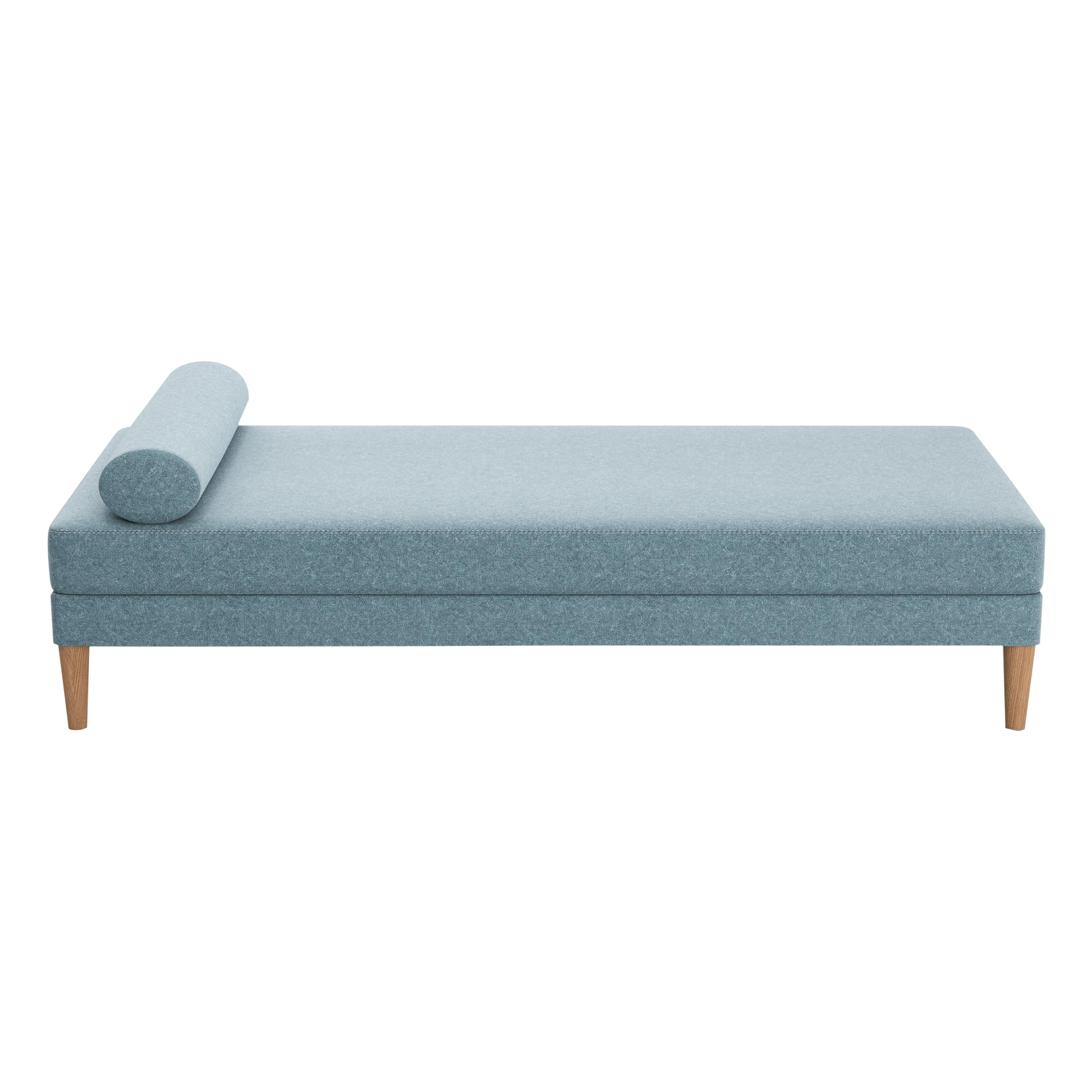 Upholstered Daybed with Bolster and Loose Seat Cushion on Oak Wood Legs