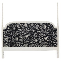 Upholstered Decorative Black and White Fabric King Size Poster Headboard