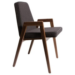 Upholstered Dining Armchair by Mel Smilow in Dark Brown Boucle