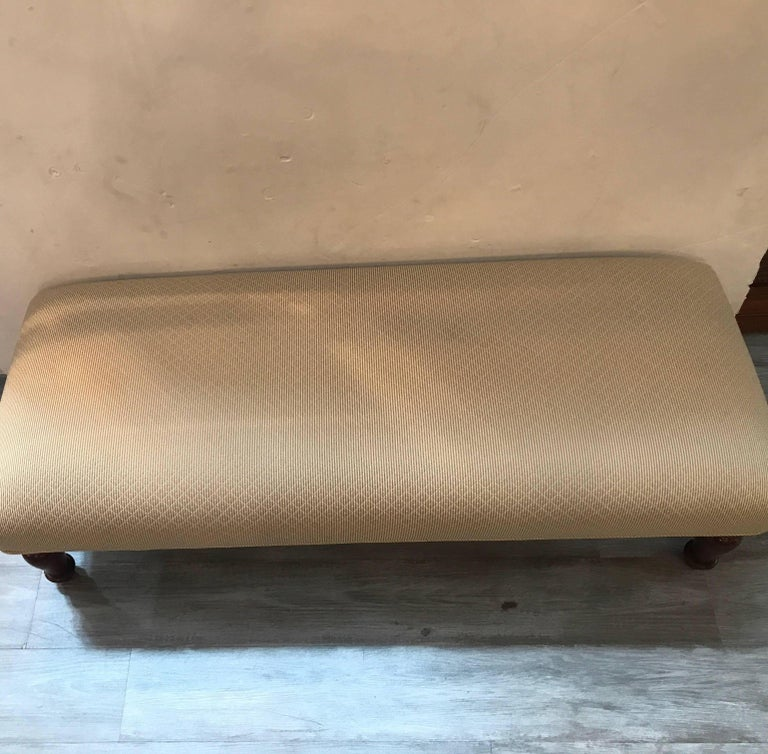 American Upholstered Double Ottoman Bench For Sale