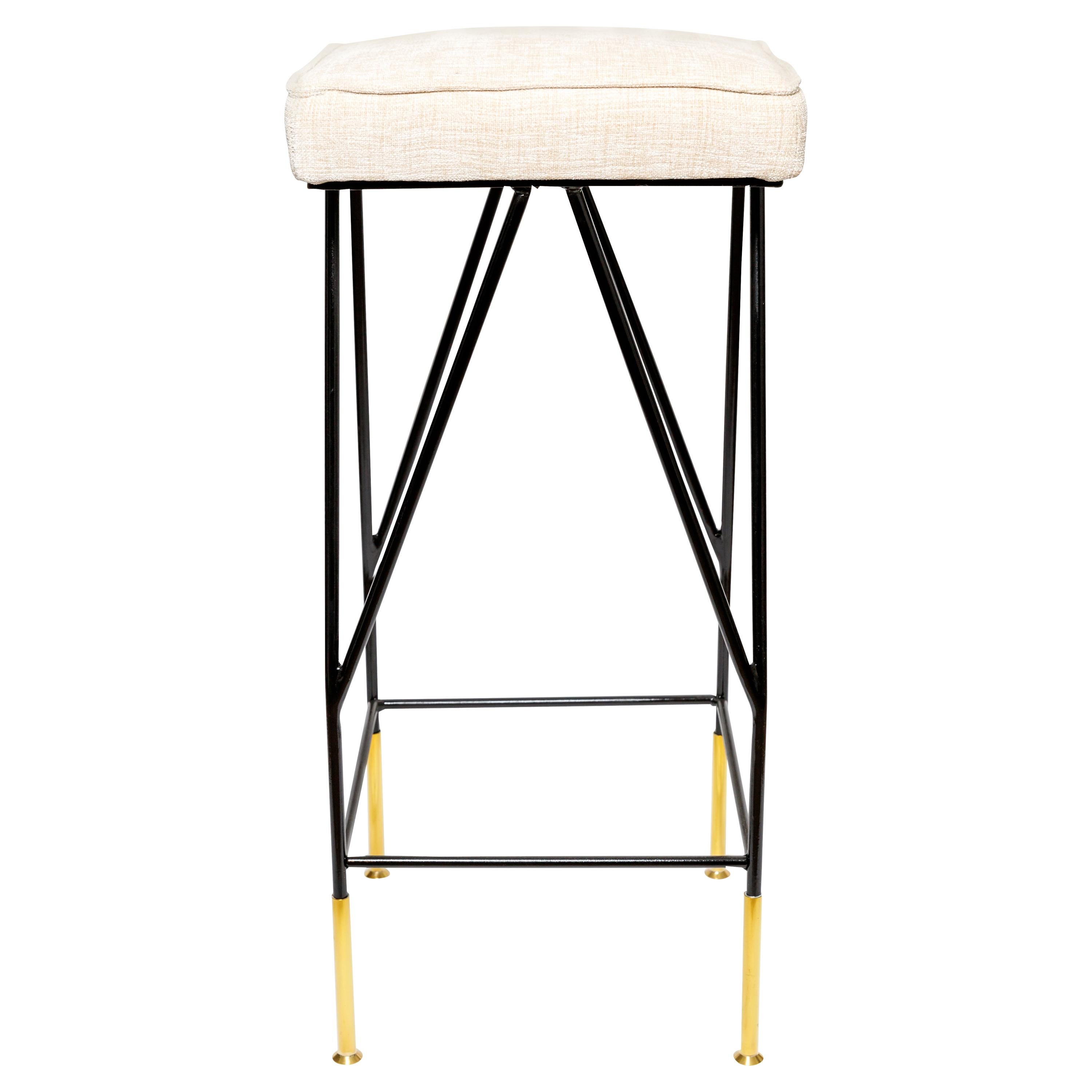 Upholstered Enameled Iron Bar Stools with Brass Details