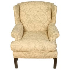 Upholstered English Mahogany Wingback Chair