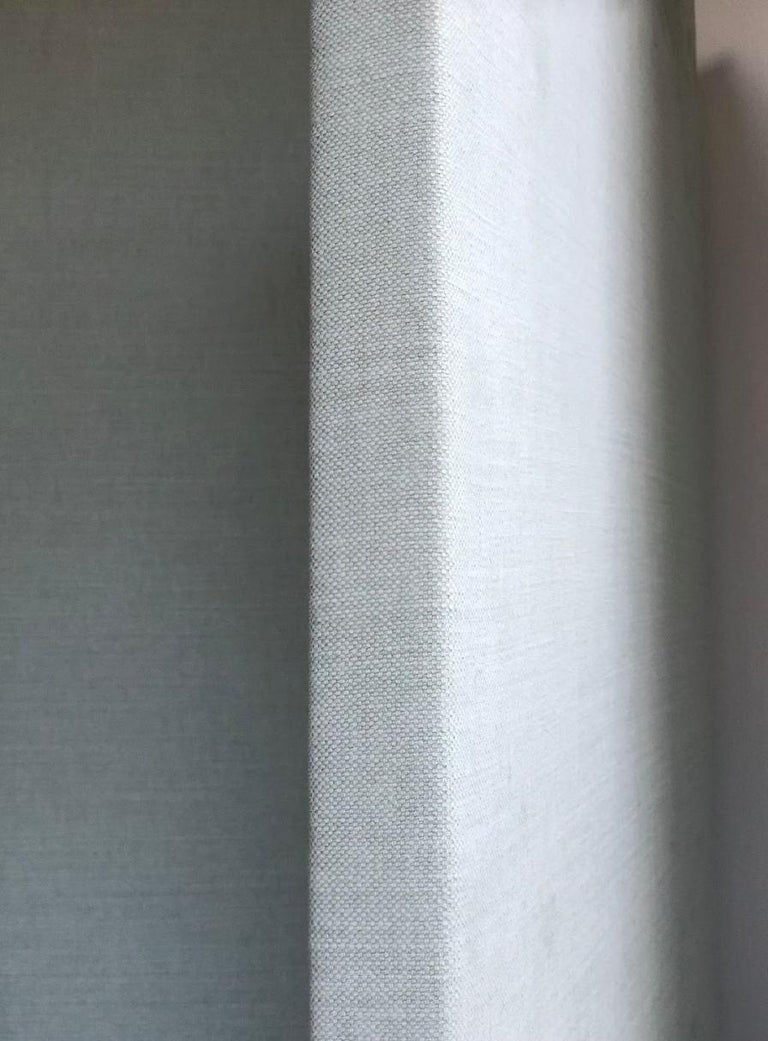 Upholstered Folding Screen Room Divider Pale Gray Blue Pair In Stock For Sale At 1stdibs