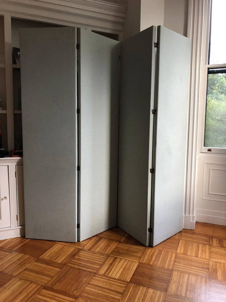Modern Upholstered Folding Screen Room Divider Pale Gray Blue, Pair, in Stock For Sale