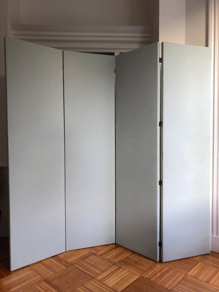 Bronzed Upholstered Folding Screen Room Divider Pale Gray Blue, Pair, in Stock For Sale