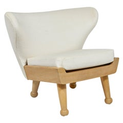 Upholstered Hayworth Outdoor Lounge Chair by August Abode in Bleached Teak