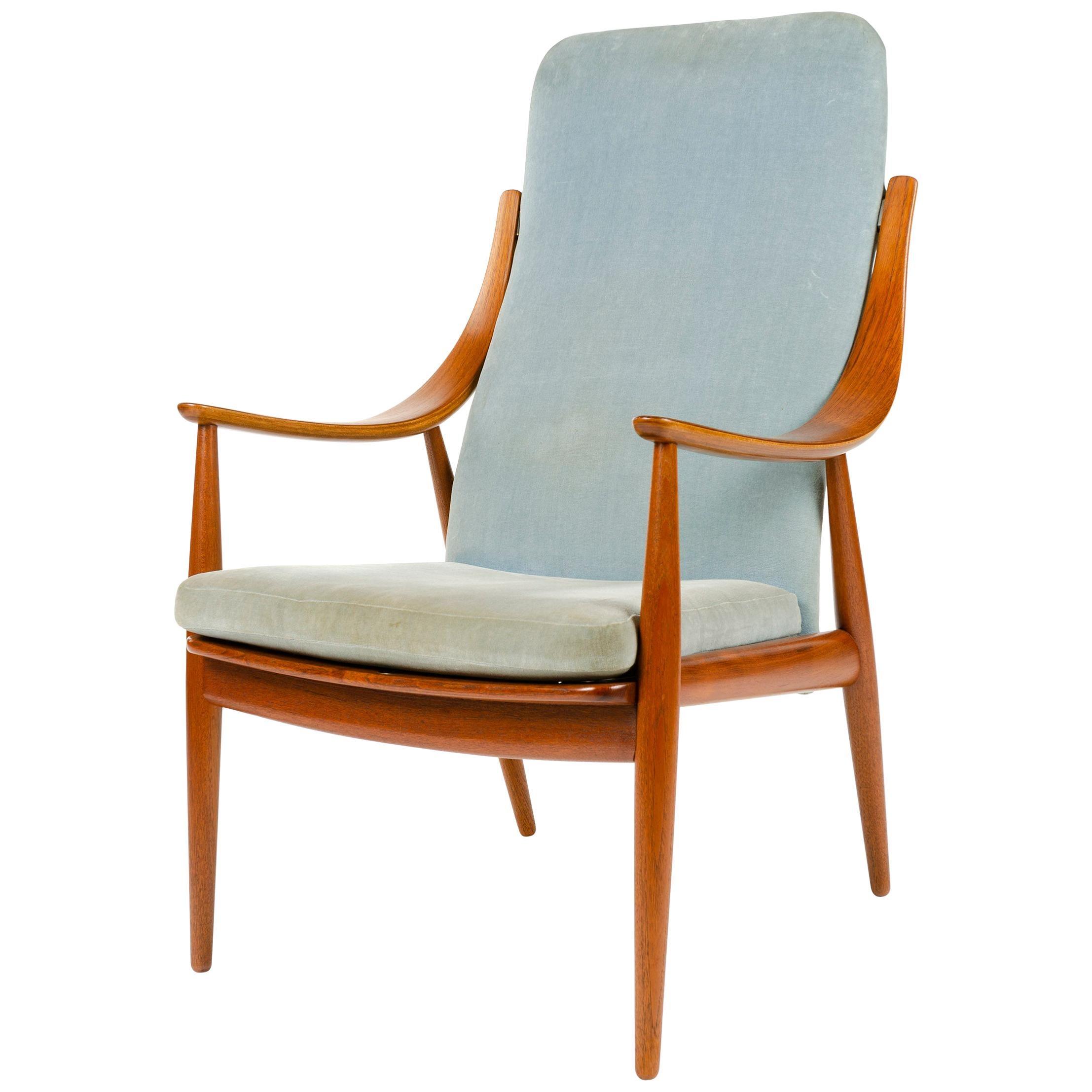 1950s Danish Upholstered High Back Armchair by Hvidt & Mölgaard-Nielsen