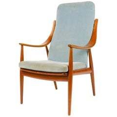 1950s Danish Upholstered High Back Armchair by Hvidt & Mölgaard-Nielsen
