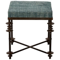 Upholstered Iron Stool with Blue Linen Seat