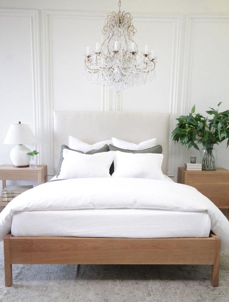 Modern Upholstered Linen and Solid Oak Platform Bed in Queen Size For Sale