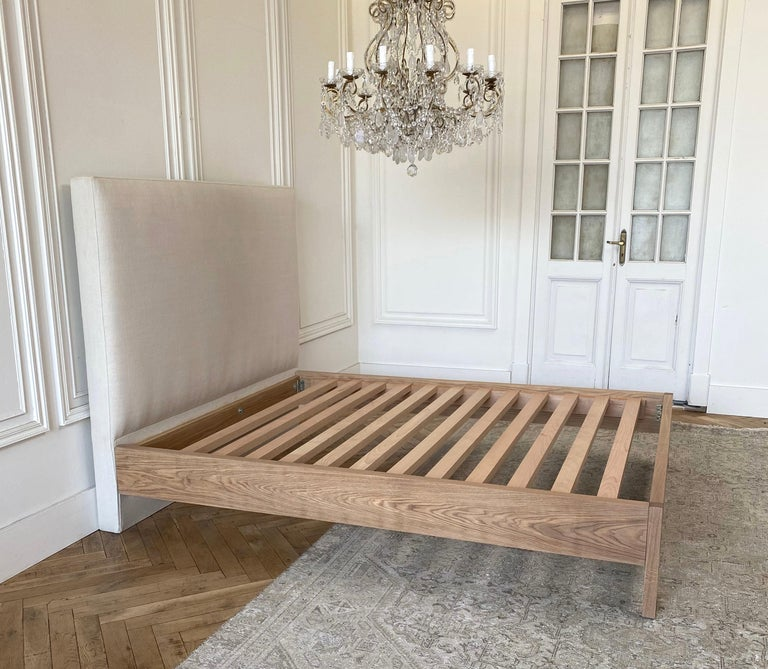 Upholstered linen and solid oak platform bed in Queen This sale price is for our floor sample only. Not on custom orders. Custom designed and made for Full Bloom Cottage. Shown in our natural Belgian linen, and natural oak. Available in Queen Choose